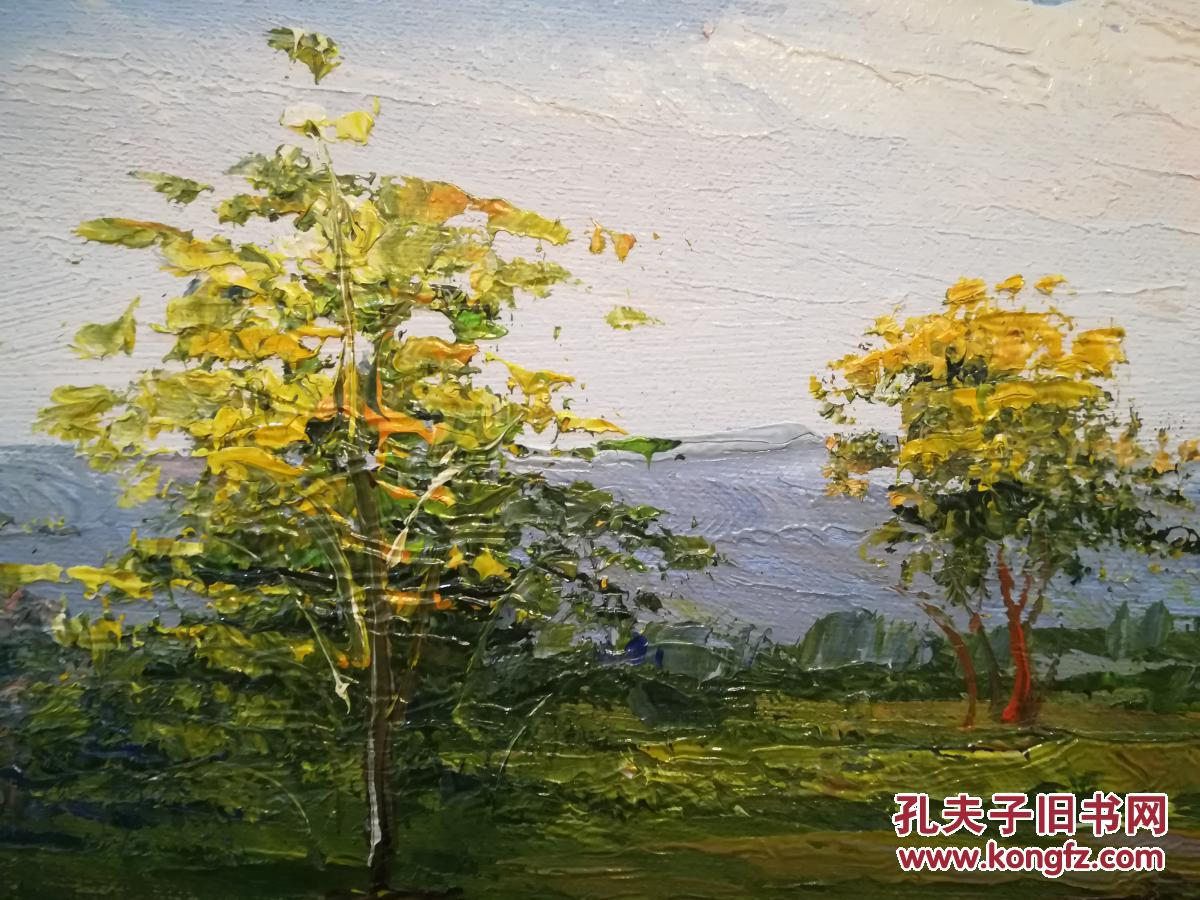 纯手绘油画 精美艺术油画 风景画 大树 花朵 湖泊 对岸 远山 蓝天