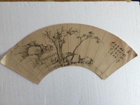 山水扇面画《寒林孤亭图》,1906年日本著名画家柚木玉邨真作,生写非印刷品,钤印,画工精湛!稀品