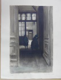 德国水彩画《公寓的入口》,有画家签名。