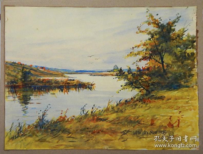 德国水彩画《黄色调子的河边风景》,有画家签名。