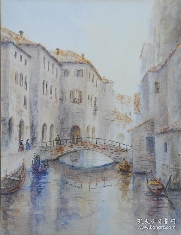 德国水彩画《威尼斯风景》, 有画家签名。