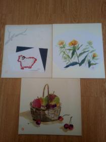 日本色纸三张,艺术贴纸作品