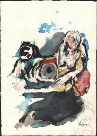 德国Ehrenfried Violashuicai水彩画创作《赛车女郎》