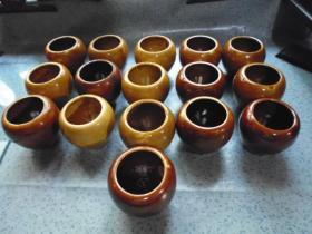 瓷器: 中医理疗拔罐(火罐)上口直径5.3㎝,高7㎝,底直径4.5㎝,共16个合售