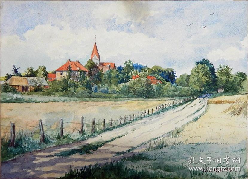 德国95年前的一幅老水彩画《有红色屋顶的田野风景》,保真,有作者签名。