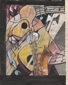 德国水彩画《乐器》