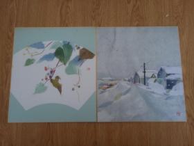 日本色纸两张,艺术贴纸作品