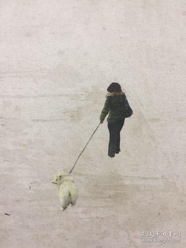 矢名油画《女人和狗》,简单的构图,女人坚定向前走,狗儿深情回望,依依不舍。