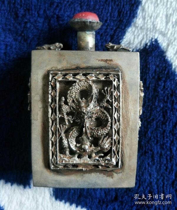 白铜【龙】鼻烟壶,重量:73克  年代不详请自鉴.尺寸看图