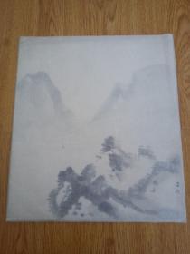 日本色纸水墨山水一幅