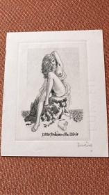 塞维林情色精品藏书票系列《unveiled woman seated on a rock 》作品编号270 签名