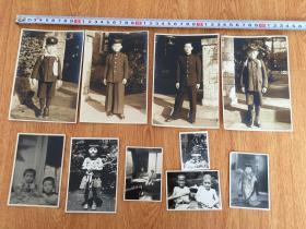 1947-1950年日本同一家族儿童、青年照片10章合售