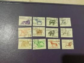 贝宁邮票1999年 哺乳动物 犀牛 河马 斑马 水牛等 12全(盖销票)