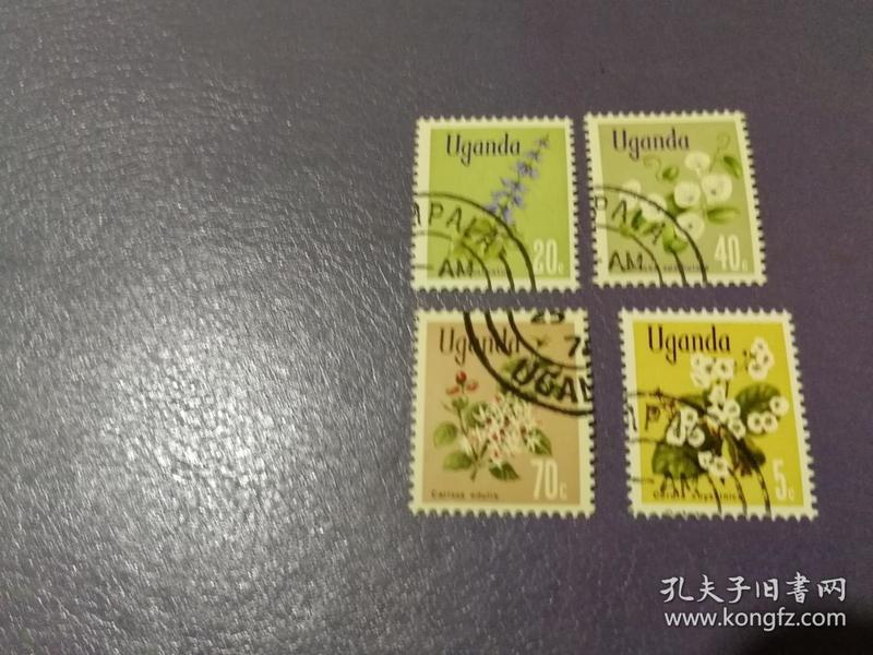 乌干达邮票花卉4枚(盖销票)