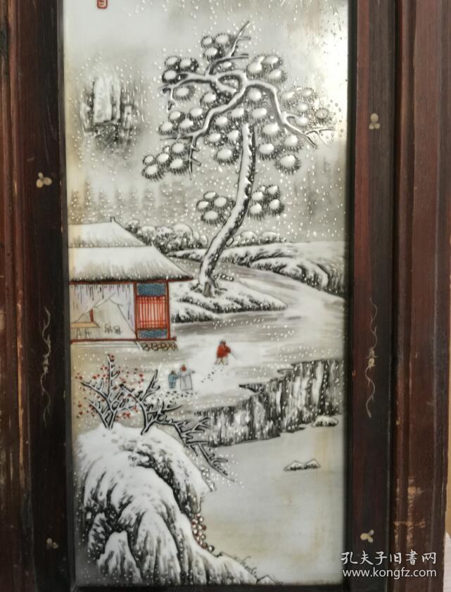 收到【雪景图】瓷板画挂件一个,瓷板画,手绘,画