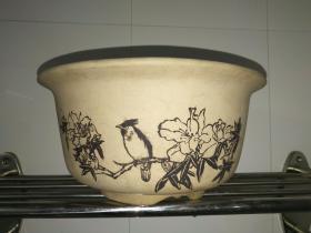 文革贴花段泥紫砂花盆(全品,自然使用痕迹) ——工艺精湛