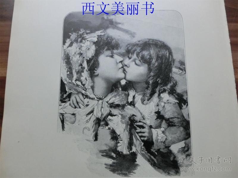【现货 包邮】1893年木刻版画《妈妈的吻》(Der KuKu? der Mutter) 尺寸约40.8*27.5厘米(货号 18029)