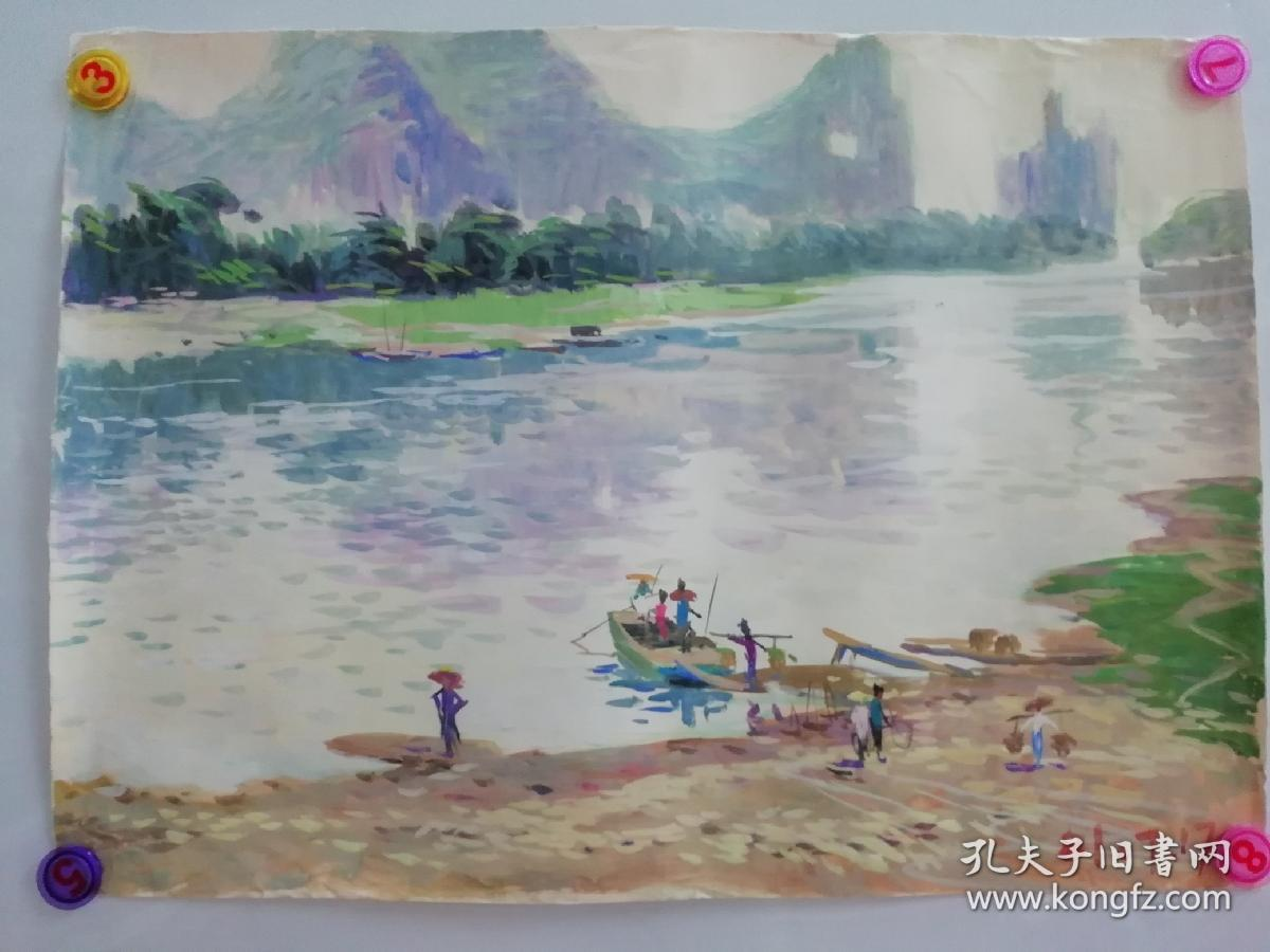 (包真)莫雨根水粉画~桂林山水系列63*49厘米02号