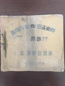 1955年济南市郊四区安乐乡张家村人、畜、地亩登记册