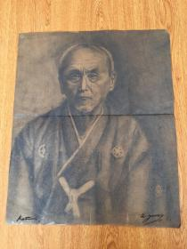 民国日本手绘人物素描画一张