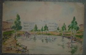 (5) 1962年 手绘水彩画 包手绘 29*19厘米