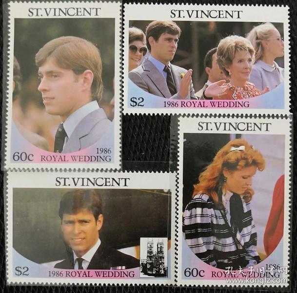 圣文森特1986年 安德鲁王子大婚4全新 (斯科特价美元3.2)实拍