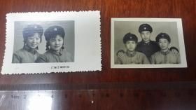 """1960年代,上海""""王开摄影""""女军人冬装合影+军装男军人合影,5.1乘4/7.4乘4.8"""