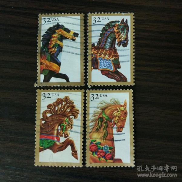 美国信销邮票 1995年旋转木马 游乐园 浪漫回忆