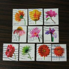 美国信销邮票 2007年 花卉10全