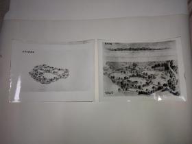 三潭印月岛鸟瞰图,花港观鱼公园金鱼园鸟瞰图、孤山立体面图(设计绘图老照片两张)