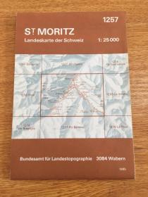 1985年《瑞士-圣莫里茨-地图》折叠大幅彩印近全品