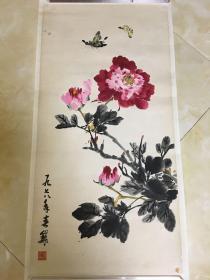 画家 李巍巍 1978年水墨花卉《蝴蝶牡丹图》一幅(纸本托片,约2.图片