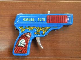 70年代 儿童玩具铁皮玩具火石手枪玩具