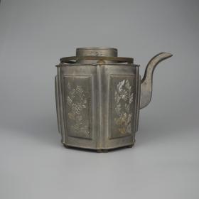 民国老锡器刻花锡壶茶壶茶具提梁壶古玩古董老物件摆件装饰