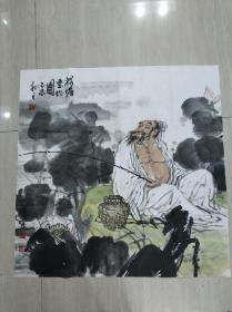 江汉城-荷塘垂钓图-69*68cm
