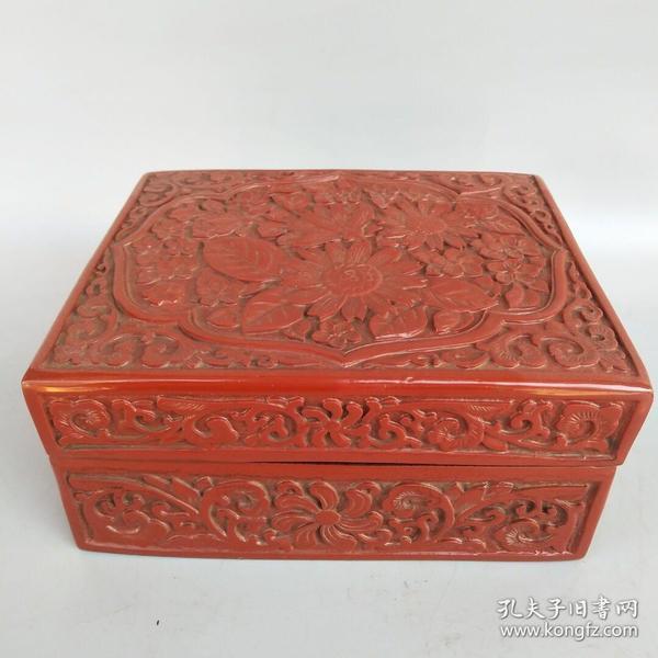 剔红漆器盒尺寸如图!重1250克
