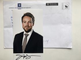 挪威贸易与工业大臣伊萨克森签名照