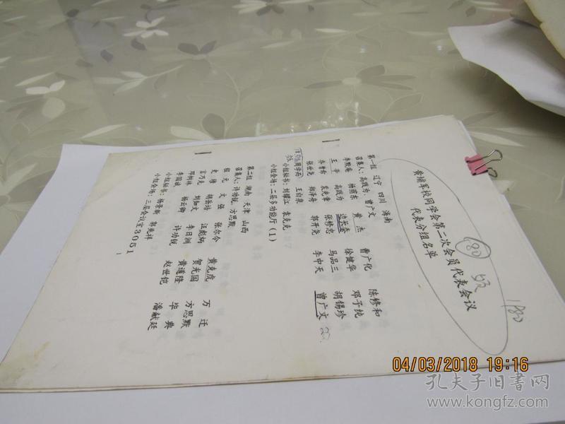 黄埔军校同学会第二次会员代表会议代表分组名单 资料 5页  913
