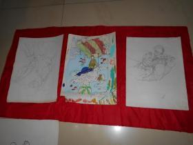 《女跳伞运动员》画稿 10页(著名画家沈大慈 创作)