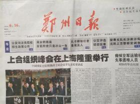 郑州日报2006年6月16日(上合组织峰会在上海隆重举行)
