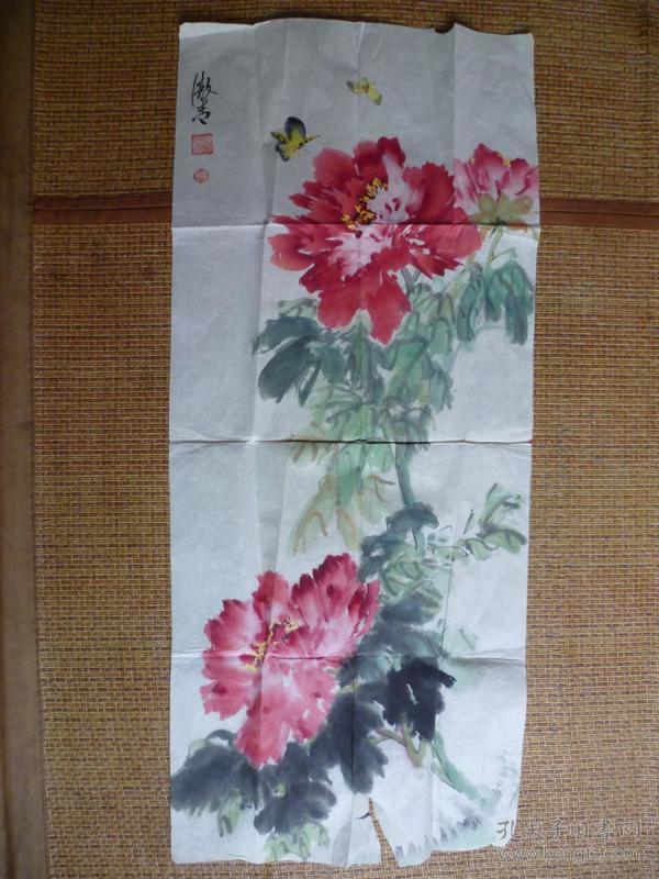 著名合肥籍画家 田黎明 母亲吴傲青【1931-】国画牡丹图片
