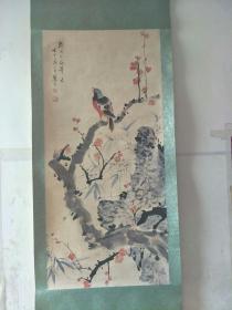 原上海中国画院画师江寒汀红梅花鸟图