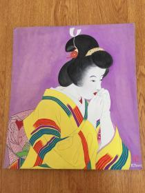 1956年日本【柳濑胜美】手绘《和服美人图》