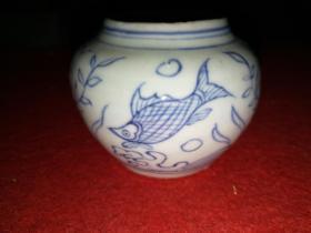 清代鱼藻纹瓷器水盂