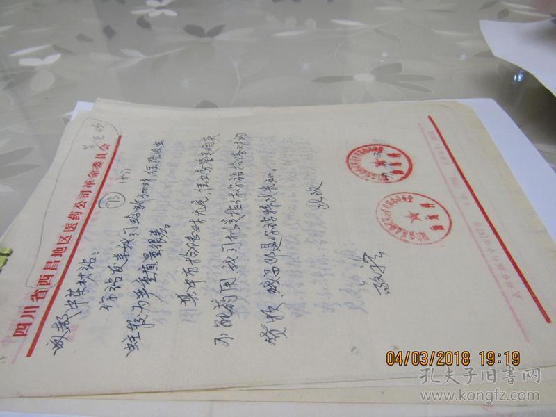 西昌地区医药公司革命委员会信4页  913