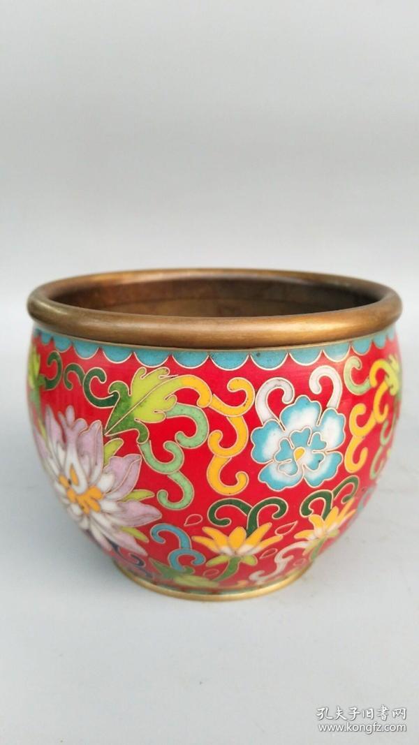 景泰蓝掐丝珐琅彩铜缸笔洗尺寸重量如图
