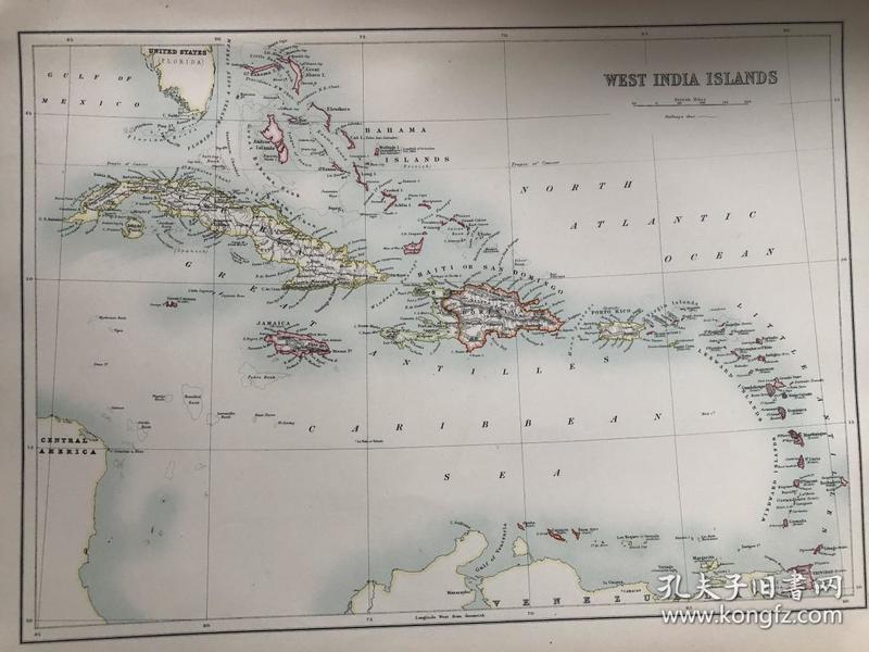 1895年 西印度群岛地图 非常精美 33*45cm