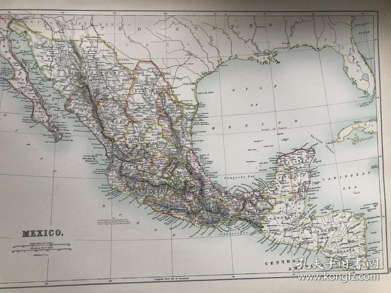 1895年 墨西哥地图 非常精美 33*45cm