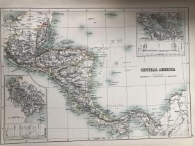 1895年 中美洲地图 非常精美 33*45cm