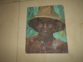 著名油画家顾祝君 早期油画写生:《草帽哥》